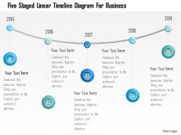 0115 Five Staged Linear Timeline Diagram For Business Powerpoint Template