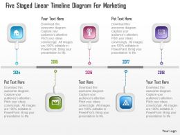 0115 Five Staged Linear Timeline Diagram For Marketing Powerpoint Template