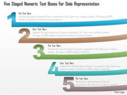 0115 Five Staged Numeric Text Boxes For Data Representation Powerpoint Template