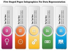 0115 Five Staged Paper Infographics For Data Representation And Process Control PowerPoint Template
