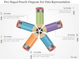 0115 Five Staged Pencils Diagram For Data Representation Powerpoint Template