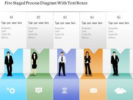 0115 Five Staged Process Diagram With Text Boxes Powerpoint Template