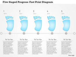 0115 Five Staged Progress Foot Print Diagram Powerpoint Template