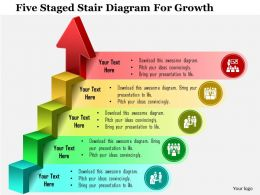 0115 Five Staged Stair Diagram For Growth Powerpoint Template