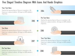 0115 Five Staged Timeline Diagram With Icons And Hands Graphics Powerpoint Template