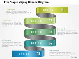 0115 Five Staged Zigzag Banner Diagram Powerpoint Template