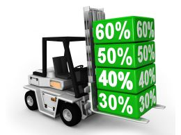 0115 Forklift Truck With Percentage Cartons Stock Photo