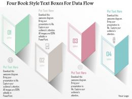 0115 Four Book Style Text Boxes For Data Flow Powerpoint Template