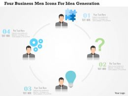 0115 Four Business Men Icons For Idea Generation Powerpoint Template