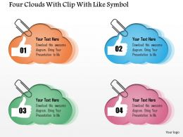 0115 Four Clouds With Clip With Like Symbol Powerpoint Template