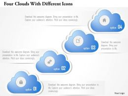 0115 Four Clouds With Different Icons Powerpoint Template