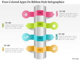 0115 Four Colored Apps On Ribbon Style Infographics Powerpoint Template