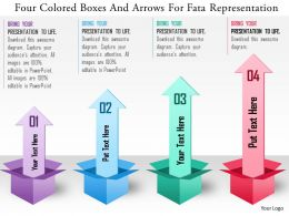 0115 Four Colored Boxes And Arrows For Data Representation Powerpoint Template