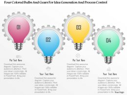 0115 Four Colored Bulbs And Gears For Idea Generation And Process Control Powerpoint Template