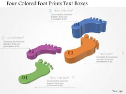 0115 Four Colored Foot Prints Text Boxes Powerpoint Template