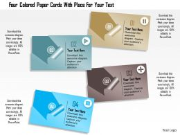 0115 Four Colored Paper Cards For Text Representations Powerpoint Template