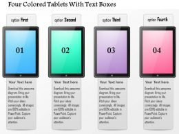 0115 Four Colored Tablets With Text Boxes Powerpoint Template