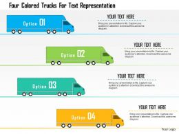 0115 Four Colored Trucks For Text Representation Powerpoint Template