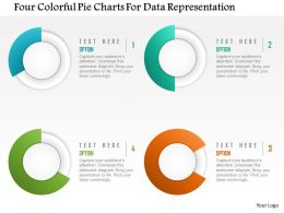 0115 Four Colorful Pie Charts For Data Representation PowerPoint Template