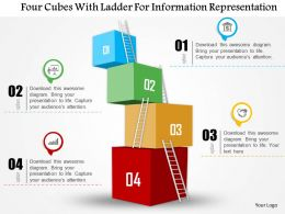 0115 Four Cubes With Ladder For Information Representation Powerpoint Template