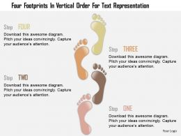 0115 Four Footprints In Vertical Order For Text Representation Powerpoint Template