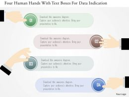 0115 Four Human Hands With Text Boxes For Data Indication Powerpoint Template
