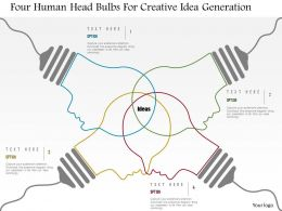 0115 Four Human Head Bulbs For Creative Idea Generation Powerpoint Template