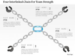 0115 Four Interlinked Chain For Team Strength Powerpoint Template