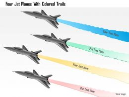 0115 Four Jet Planes With Colored Trails Powerpoint Template