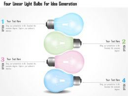 0115 Four Linear Light Bulbs For Idea Generation Powerpoint Template