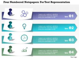 0115 Four Numbered Notepapers For Text Representation Powerpoint Template