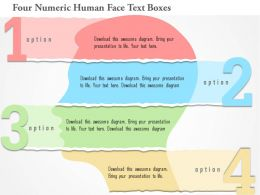 0115 Four Numeric Human Face Text Boxes Powerpoint Template