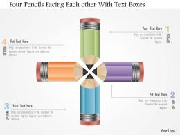 0115 Four Pencils Facing Each Other With Text Boxes Powerpoint Template