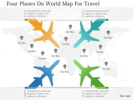 0115 Four Planes On World Map For Travel Powerpoint Template