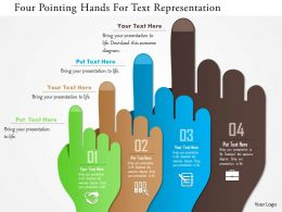 0115 Four Pointing Hands For Text Representation Powerpoint Template