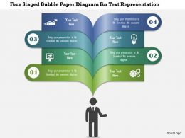 0115 Four Staged Bubble Paper Diagram For Text Representation PowerPoint Template