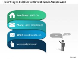 0115 Four Staged Bubbles With Text Boxes And 3d Man Powerpoint Template