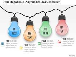0115 Four Staged Bulb Diagram For Idea Generation Powerpoint Template