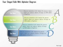 0115 Four Staged Bulb With Alphabet Diagram Powerpoint Template