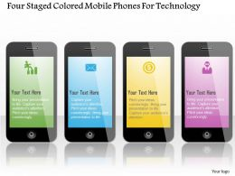 0115 Four Staged Colored Mobile Phones For Technology Powerpoint Template