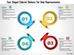 0115 Four Staged Colored Stickers For Data Representation PowerPoint Template