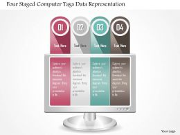 0115 Four Staged Computer Tags Data Representation Powerpoint Template