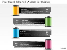 0115 Four Staged Film Roll Diagram For Business Powerpoint Template