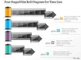 0115 Four Staged Film Roll Diagram For Time Line Powerpoint Template