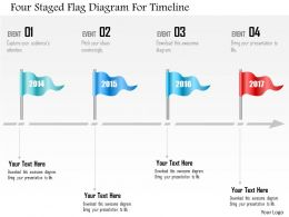 0115 Four Staged Flag Diagram For Timeline Powerpoint Template