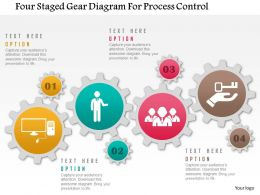 0115 Four Staged Gear Diagram For Process Control Powerpoint Template
