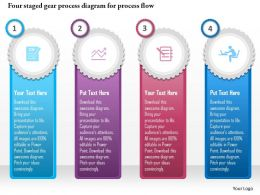 0115 Four Staged Gear Process Diagram For Process Flow Powerpoint Template