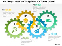 0115 Four Staged Gears And Infographics For Process Control Powerpoint Template