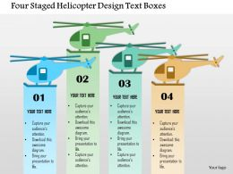 0115 Four Staged Helicopter Design Text Boxes Powerpoint Template