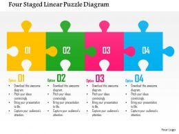 0115 Four Staged Linear Puzzle Diagram Powerpoint Template